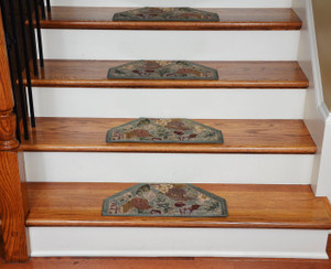 Washable Non-Skid Carpet Stair Treads - Mint Green Floral (13)