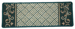 Dean Washable Non-Skid Carpet Stair Treads - Hunter Green Scroll Border (Set of 15)