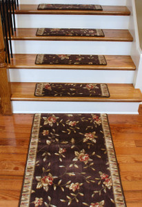 Premium Carpet Stair Treads - Chocolate Spring Blossoms PLUS a Matching 5' Runner