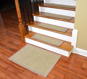 Dean Attachable Non-Slip Sisal Carpet Stair Tread Runner Rugs - Desert/Sand (Set of 13) Plus a Matching 2' x 3' Landing Mat