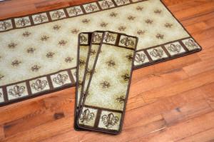 """Dean Premium Carpet Stair Treads - Fleur-De-Lys Beige 31"""" x 9"""" (Set of 13) Plus a 5' Runner"""
