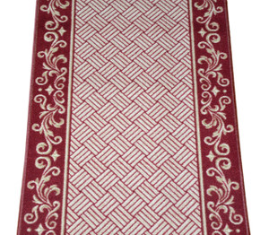 Cranberry Scroll Border Washable  Non-Skid Carpet Rug Runner - Purchase by the Linear Foot