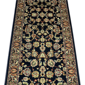 Dean Elegant Keshan Ebony Carpet Rug Hallway Stair Runner - Purchase by the Linear Foot