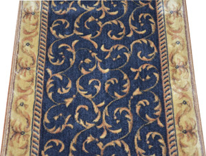 Dean Navy Scrollwork Carpet Rug Hallway Stair Runner - Purchase by the Linear Foot