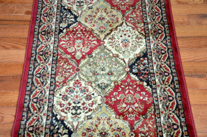 "Dean Panel Kerman Claret 31""W Carpet Rug Hallway Runner - Purchase by the Linear Foot"