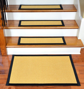 "Dean Non-Slip Tape Free Pet Friendly Stair Gripper Natural Fiber Sisal Carpet Stair Treads - Madagascar Basketweave Tropical Gold/Black 29""W (15) Plus a Matching 2' x 3' Landing Mat"