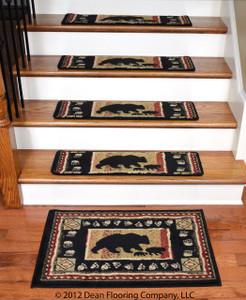 "Dean Premium Carpet Stair Treads - Black Bear Cabin 31"" x 9"" (Set of 13)  Plus a Matching Landing Mat"