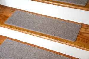 "Dean Non-Slip Tape Free Pet Friendly DIY Carpet Stair Treads/Rugs 27"" x 9"" (15) - Color: Beige"