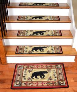 "Dean Premium Carpet Stair Tread Rugs - Black and Red Bear Cabin Lodge 31"" W (13) Plus Landing Mat"