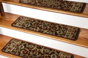 "Dean Premium Carpet Stair Treads - Classic Keshan Chocolate Brown Rug Runners 31""W Set of 13"