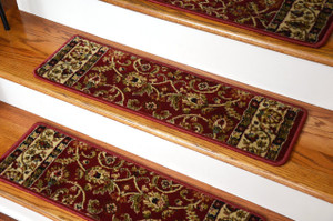 "Dean Premium Carpet Stair Treads - Classic Keshan Claret Red Rug Runners 31""W Set of 13"