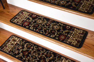 "Dean Premium Carpet Stair Treads - Classic Keshan Ebony Black Rug Runners 31""W Set of 13"
