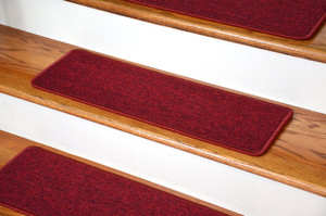 "Dean DIY Peel and Stick Serged Non-Skid Carpet Stair Treads - Cardinal Red (13) 27"" x 9"" Runner Rugs"