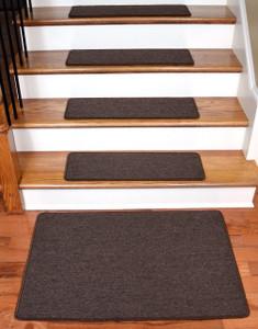 """Dean Serged DIY Carpet Stair Treads 27"""" x 9"""" - Dark Brown - Set of 13 Plus a Matching 2' x 3' Landing Mat"""