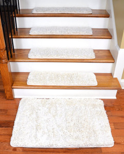 "Dean Serged DIY Premium Carpet Stair Treads 30"" x 9"" - Deluxe Ivory Shag - Set of 13 Plus a 2' x 3' Landing Mat"