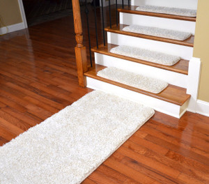 "Dean Serged DIY Premium Carpet Stair Treads 30"" x 9"" - Deluxe Ivory Shag - Set of 13 Plus a 5' Runner"