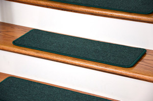 "Dean DIY Peel and Stick Serged Non-Skid Carpet Stair Treads - Emerald Green (13) 27"" x 9"" Runner Rugs"