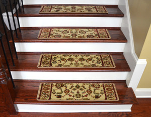 "Dean Premium Carpet Stair Tread Rugs - Elegant Keshan Antique 31"" W (Set of 15)"