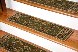 """Dean Premium Carpet Stair Tread Rugs - Elegant Keshan Sage 31"""" W Set of 13"""