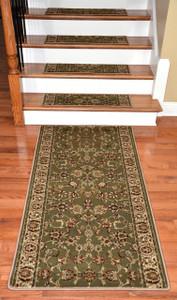 """Dean Premium Carpet Stair Tread Rugs and 5' Runner - Elegant Keshan Sage 31"""" W"""