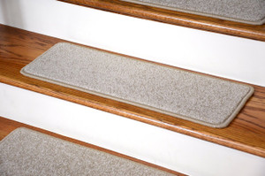"Dean Carpet Stair Treads 27"" x 9"" Fresco Beige Plush (Set of 13)"