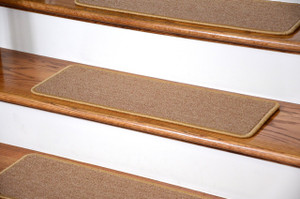 "Dean DIY Peel and Stick Serged Non-Skid Carpet Stair Treads - Golden Camel (13) 27"" x 9"" Runner Rugs"