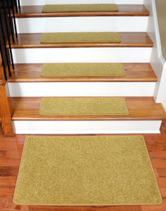 "Dean Carpet Stair Treads 27"" x 9"" - Camel PLUSH (Set of 13) Plus 2' x 3' Mat"