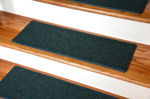 "Dean DIY Carpet Stair Treads 23"" x 8"" - Hunter Green - Set of 13 Plus Double-Sided Tape"