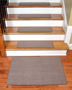 "Dean Premium Carpet Stair Treads - Keaton Taupe (13) 30"" x 9"" Plus a Matching 2' x 3' Landing Mat"