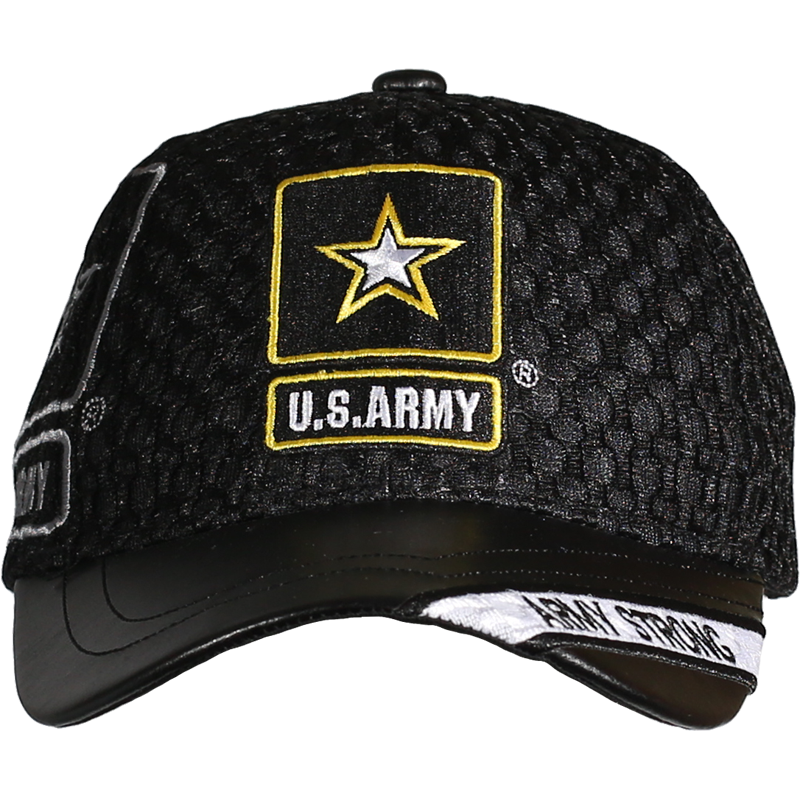 1b5dc757ff2c56 Caps - Leather Brim - Army Strong - Black