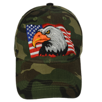 Caps-Embroidered- Eagle Flag Woodlands Camo