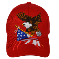 Caps-Embroidered- Eagle Flag Red