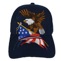Caps-Embroidered- Eagle Flag Navy