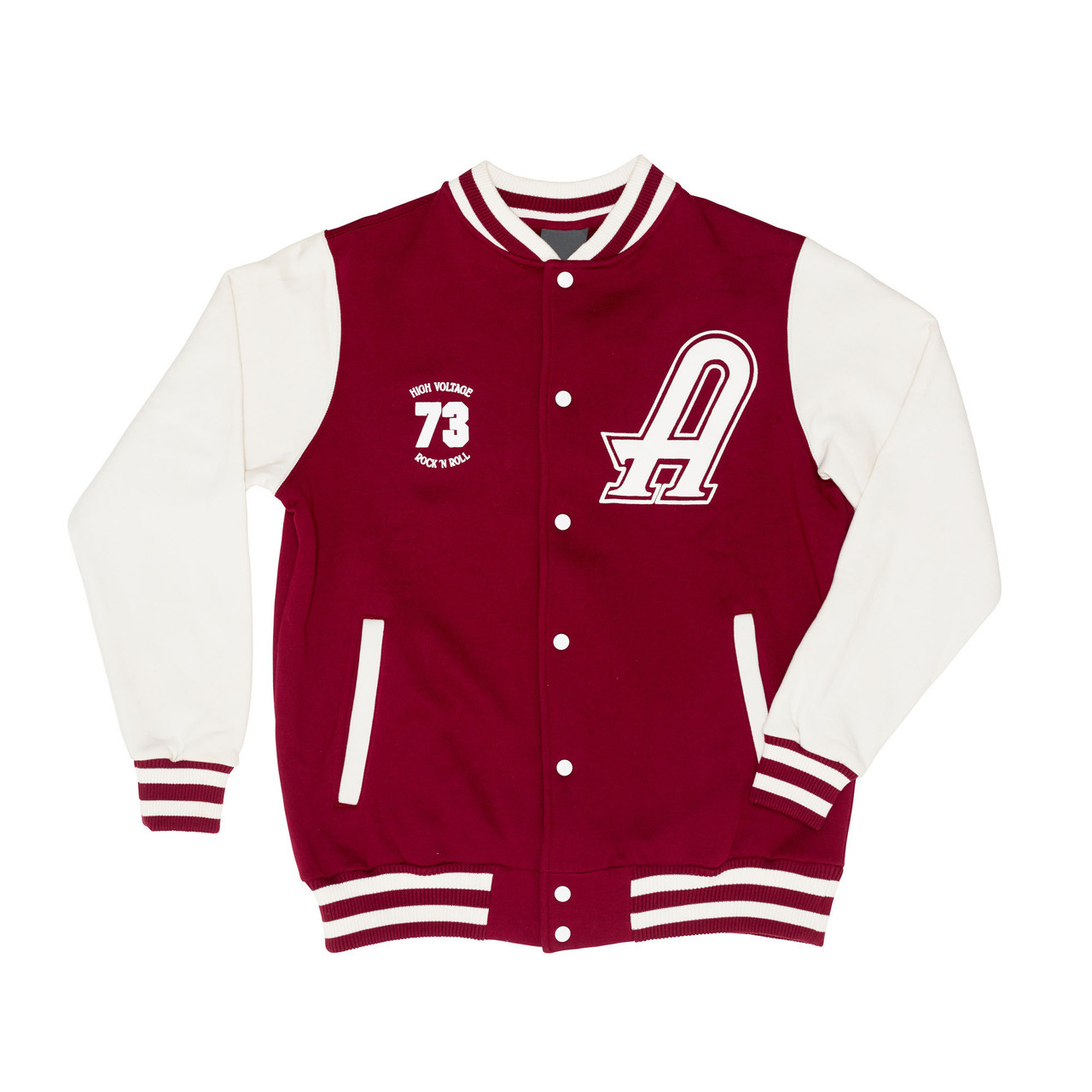 Ac Dc High Voltage Varsity Jacket Red And White Ac Dc Official