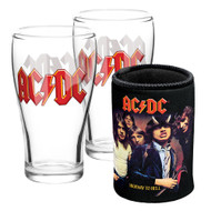 AC/DC Set of 2 Pint Glasses and Can Cooler Pack