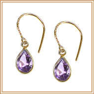 Faceted Pink Amethyst Teardrop and Gold Earrings