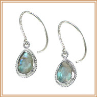 Sterling Silver and Faceted Labradorite Teardrop Charm Earrings