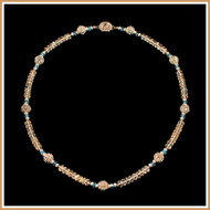 Faceted Champagne Topaz, Blue Topaz and Gold Necklace