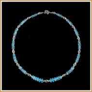 Faceted Aquamarine and Sterling Silver Herringbone Necklace