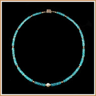 Faceted Blue Apatite and Stardust Gold Necklace