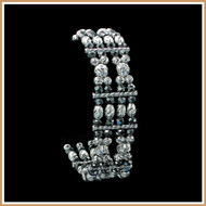 Diamond-cut Sterling Silver and Hematite Bracelet