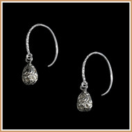 Carved Sterling Silver Teardrop Earrings