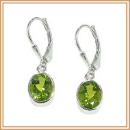 Faceted Peridot Oval and Sterling Silver Earrings
