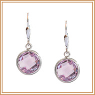 Faceted Pink Amethyst Disc and Sterling Silver Earrings