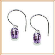 Faceted Pink Amethyst Rectangle and Sterling Silver Earrings