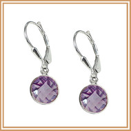 Faceted Round Pink Amethyst and Sterling Silver Earrings