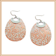 Sterling Silver and Copper Carved Floral-patterned Earrings