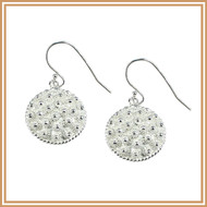 Sterling Silver Petite Royal Laotian Flower-filled Disc Earrings