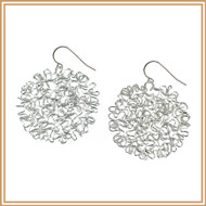 Sterling Silver Squiggled Disc Earrings