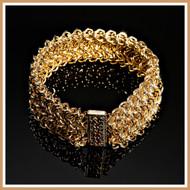 Gold Double Viennese Cuff Bracelet